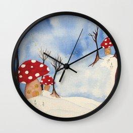 Mushroom Houses in Winter by Twelve Little Tales Wall Clock