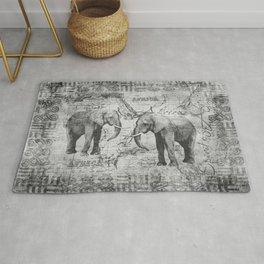 African Spirit Vintage Elephant black white Rug