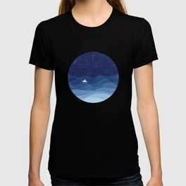 blue ocean waves, sailboat ocean stars T-shirt