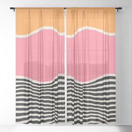 Wavy Ripples: Mid Century Edition Sheer Curtain