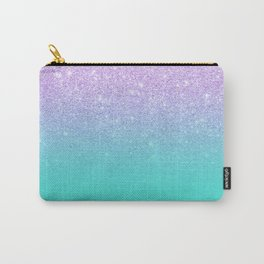 Modern mermaid lavender glitter turquoise ombre pattern Carry-All Pouch