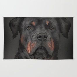 Drawing dog rottweiler 3 Rug