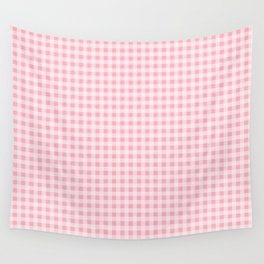Pink Gingham Wall Tapestry