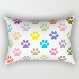 Colorful puppy paw prints pattern Rectangular Pillow