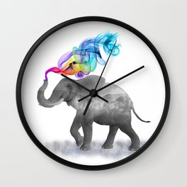 Colorful Smoky Clouded Elephant Wall Clock