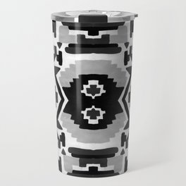 Geometric Aztec - black and white Travel Mug