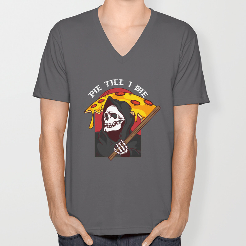 b24884762 Mens Pie Till I Die Shirt Funny Pizza T-Shirt I Grim Reaper Pizza Pie Till  I Die Shirt Unisex V-Neck by bigloro | Society6