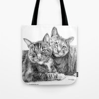 arya stark Tote Bags featuring Arya and Dante portrait by Rushelle Kucala Art