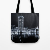 baltimore Tote Bags featuring Baltimore Nights... by Jon Bilous