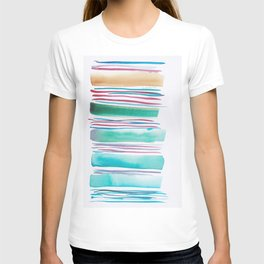 6   |181026 Lines & Color Block | Watercolor Abstract | Modern Watercolor Art T-shirt