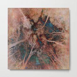 Rose Gold Starry Sky in the Forest Metal Print