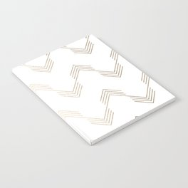 Simply Deconstructed Chevron White Gold Sands on White Notebook