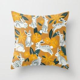 Bunnies & Blooms - Ochre & Teal Palette Throw Pillow