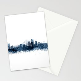Portland Skyline Navy Blue Watercolor by Zouzounio Art Stationery Cards