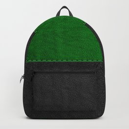 Image of green and black stitched leather Backpack