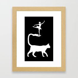 The Cat and the Ballerina-Silhouette-Animal-Surreal-Fantasy Framed Art Print