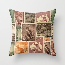 Vintage Australian Postage Stamps Collection Throw Pillow