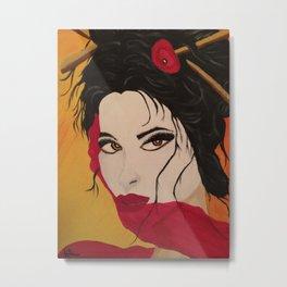 Portait of japanese geisha painting Metal Print