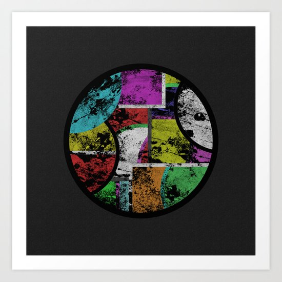 Pastel Porthole - Abstract, geometric, textured, pastel coloured artwork Art Print