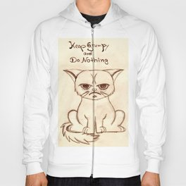 Keep Grumpy and Do Nothing - Cat drawning Hoody