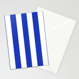 Persian blue - solid color - white vertical lines pattern Stationery Cards