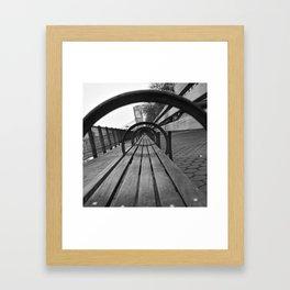 Through Benches Framed Art Print