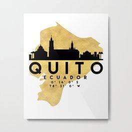 QUITO ECUADOR SILHOUETTE SKYLINE MAP ART Metal Print