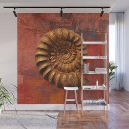Ammonite fossil, prehistoric life, fossil art Wall Mural