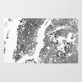 New York Map Schwarzplan Only Buildings Rug