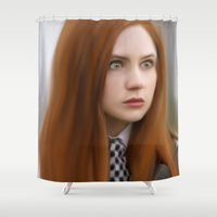 amy pond Shower Curtains featuring AMY POND  by Kayla Theodorou