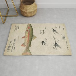 Vintage Rainbow Trout Fly Fishing Lure Patent Game Fish Identification Chart Rug