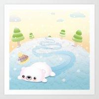 Sliding Polar Bear Art Print