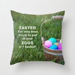 Easter Egg basket Throw Pillow