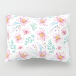 Elegant hand painted blush pink teal watercolor floral Pillow Sham