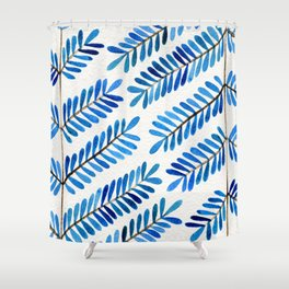 Blue Leaflets Shower Curtain
