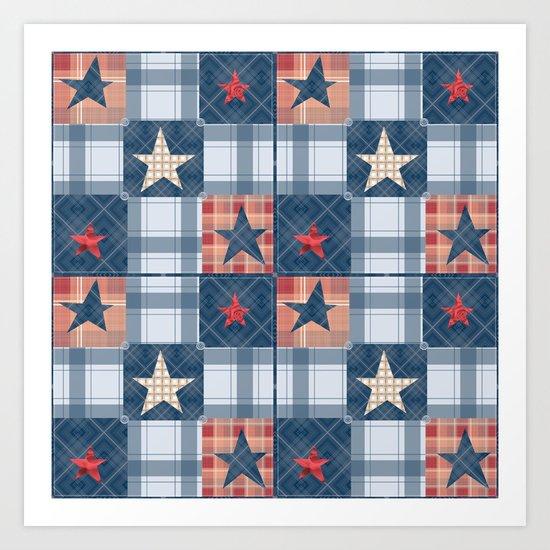 Blue denim plaid patchwork . Art Print