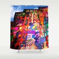 cityscape Shower Curtains featuring cityscape by embee studio