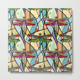 Dragonflies on Stained Glass Metal Print