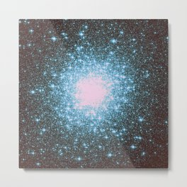 Teal Galaxy Stars Metal Print
