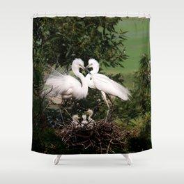 White Egret Family Shower Curtain