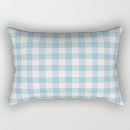 Modern 80s white pastel blue picnic print pattern Rectangular Pillow