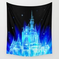 fairy tale Wall Tapestries featuring Fairy Tale Castle by WhimsyRomance&Fun