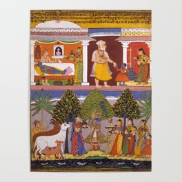 Scenes from the Childhood Krishna, from a Sur Sagar Manuscript Poster