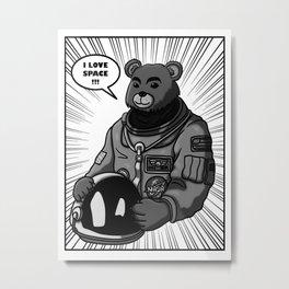 Space Bear Comic Metal Print