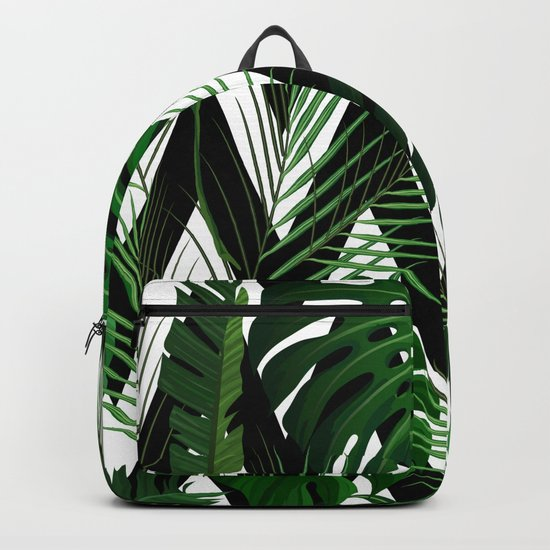Geometrical green black white tropical monster leaves by pink_water
