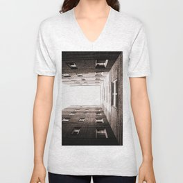 New York City Brown Brick Apartment Building, NYC Urban Queens Unisex V-Neck