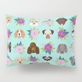 Dogs and cats pet friendly floral animal lover gifts dog breeds cat ladies Pillow Sham