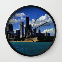 Chicago's Classic Skyline #1/Navy Pier View (Chicago Architecture Collection) Wall Clock