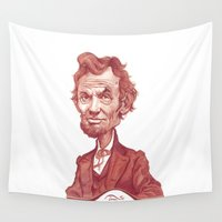 lincoln Wall Tapestries featuring Abraham Lincoln illustration portrait by Stavros Damos
