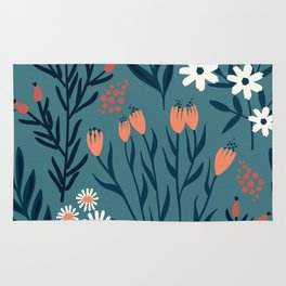 HAND PAINTED AUTUMN / SPRING FLORAL BOUQUETS Rug